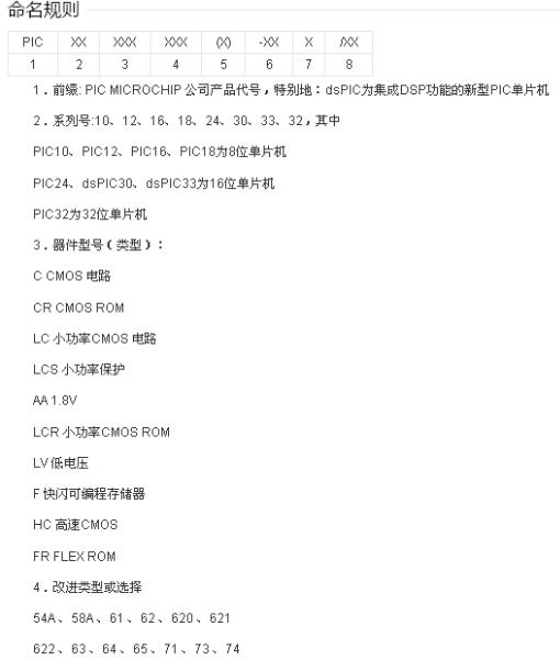 PIC单片机的命名规则详细介绍