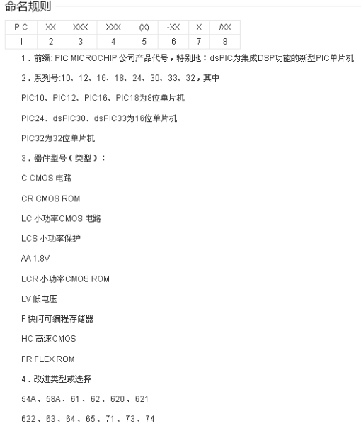 PIC單(dan)片機(ji)的命名規則詳細fu)檣shao)