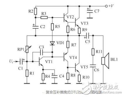 互补推挽式OTL功率放大器电路