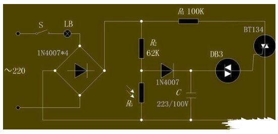自动光控调光電路图