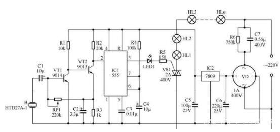 基于555的声控彩灯电路图