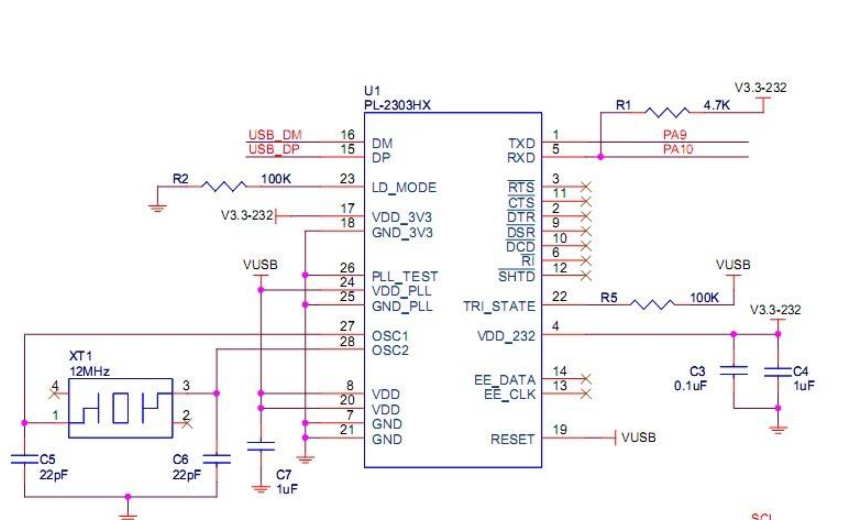 PL2303 RS232-USB接口转换器的原理图免费下载