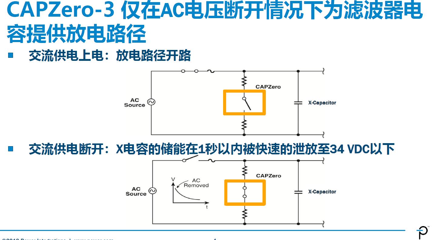 CAPZero-3在交流电压断开后为滤波电容提供放电路径。