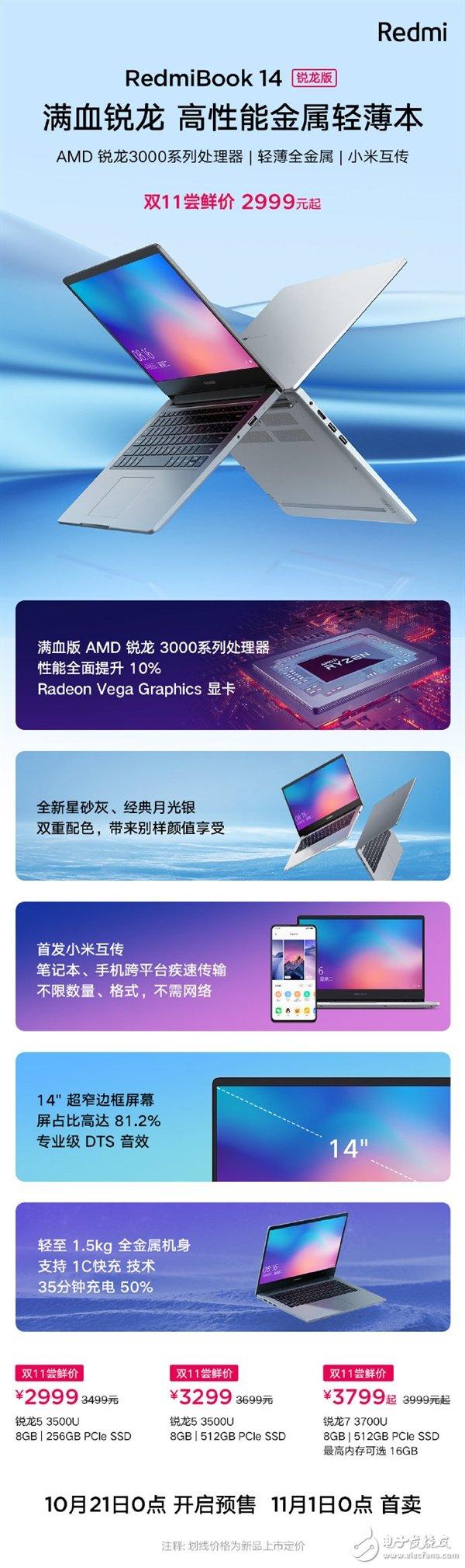 Redmi首款AMD笔记本正式发布 双11尝鲜价2999元起