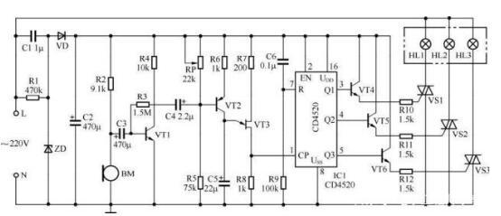 声控彩灯控制器电路图