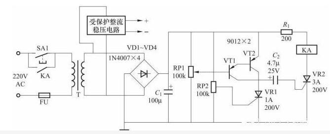 晶体管式过电压保护电气控制线路图