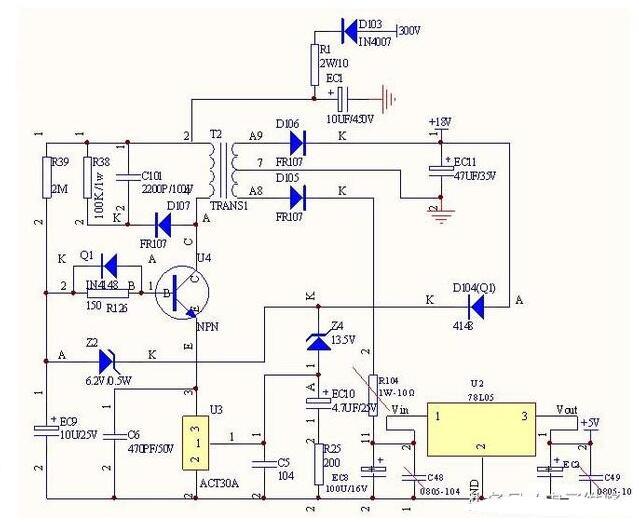 基于ACT30BHT组成的电磁炉开关电源电路