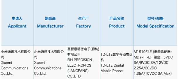 小米新机已通过3C认证该机将搭载1亿像素的后置主...