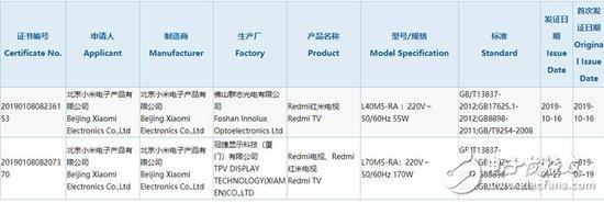 L40的Redmi红米电视已通过3C认证,预计其售价低于市面同尺寸平均售价