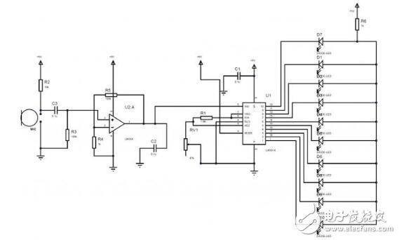 LED音量表的电路原理图