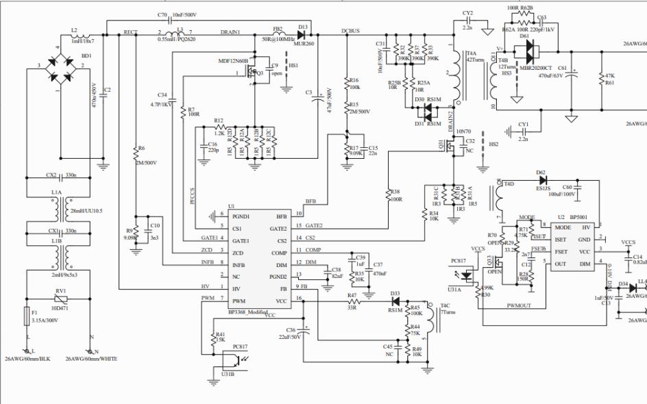 48V 1.75A的BP3368芯片0-10V调光电源电路图免费下载