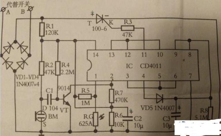 CD4011与非门控制的声光控制电路图