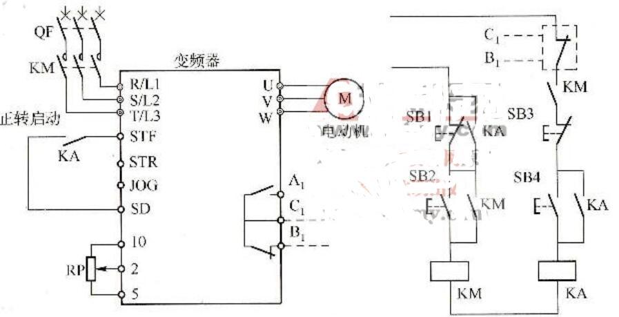 用继电器控制变频器电路图