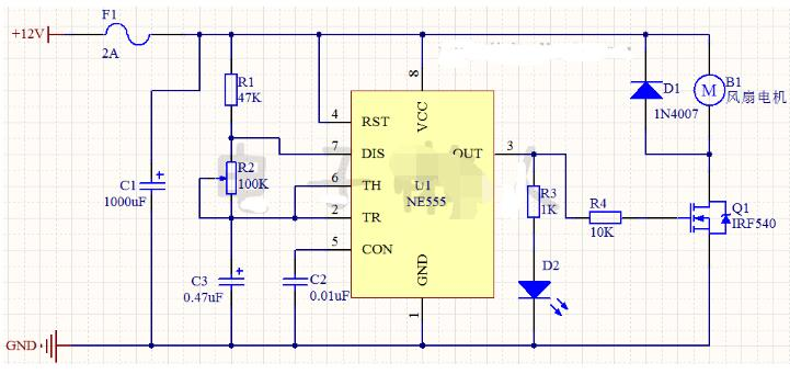 小风扇定时器电路图及工作原理