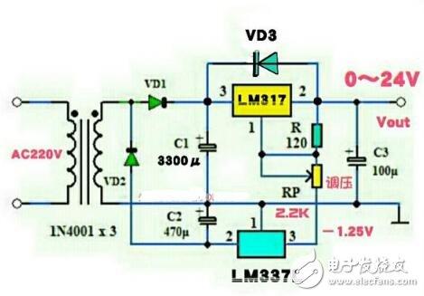 lm317稳压电源电路图