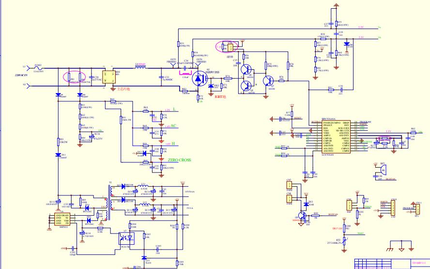 美的电磁炉TM-S1-07E-B低成本主控板的电路原理图免费下载