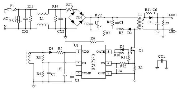 基于SM7530芯片的LED照明驱动电路设计