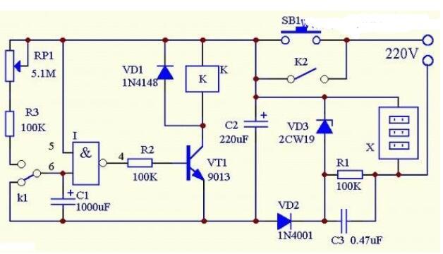 三款电子定时开关电路图