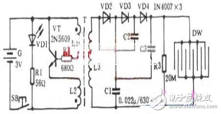 电子灭蚊拍电路原理图