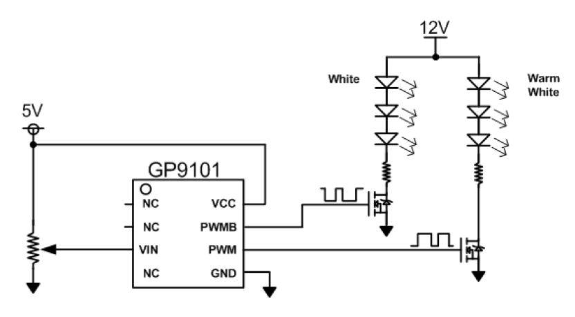 浅谈最简单的LED无级调色温方案