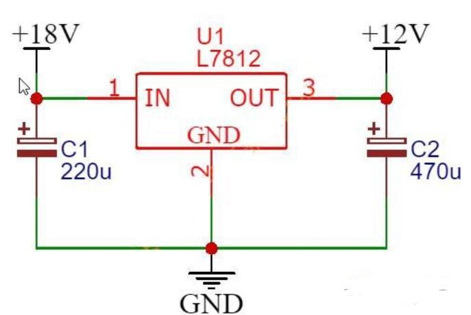 18v降低到12v直流电压电路