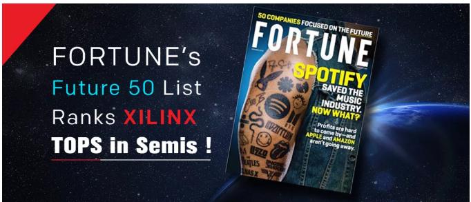 """赛灵思荣登《财富》""""未来 50 强""""榜单并位列半导体行业之首"""