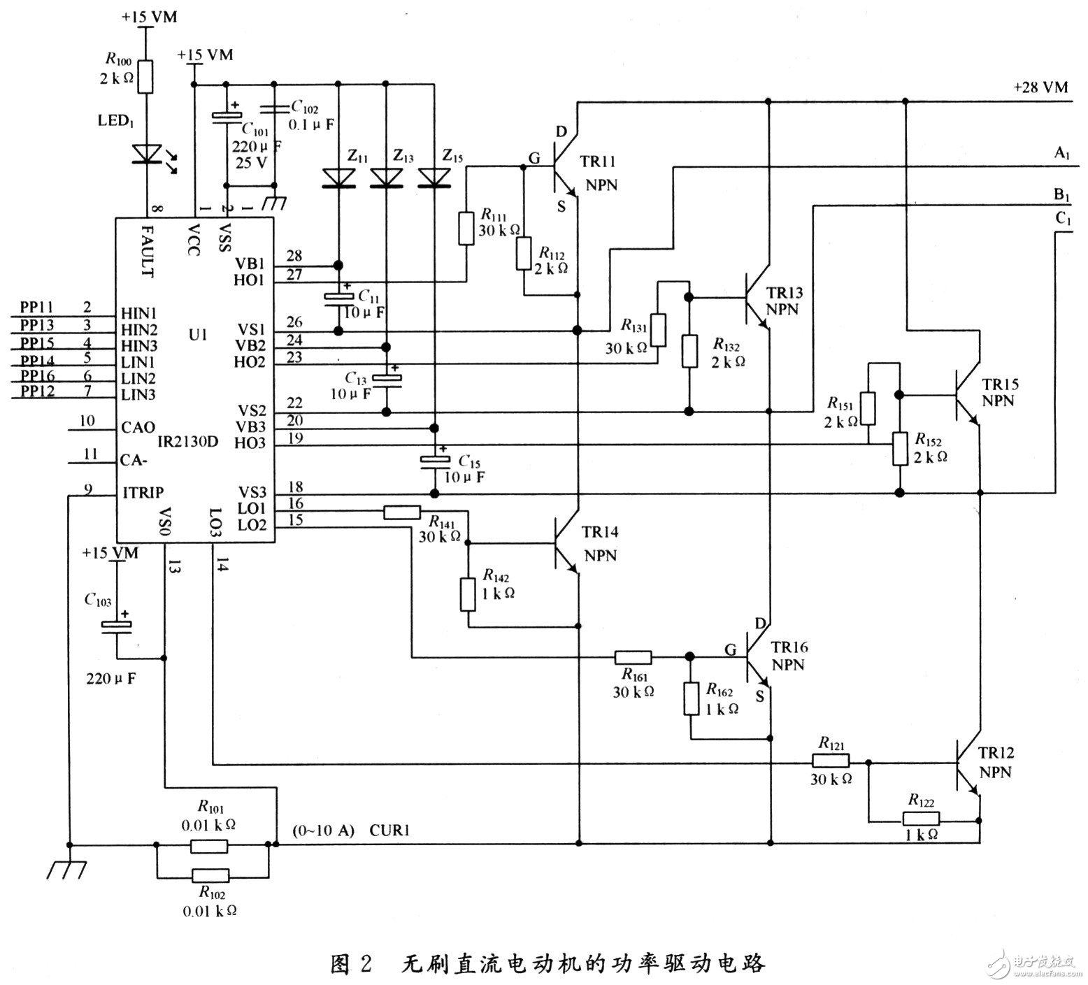 基于IR2130驱动芯片的无刷直流电机功率驱动电路设计