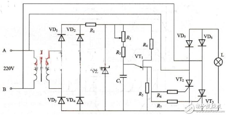 三款晶闸管调光电子电路图图片