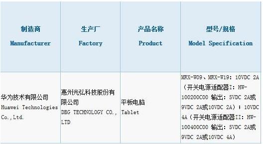 华为MatePad Pro平板电脑曝光采用了打孔...