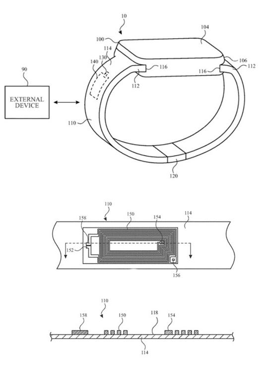 苹果Apple Watch新专利曝光将无线天线集成到了表带中