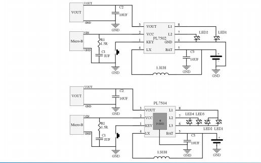 PL7502和PL7504低功耗同步升压和锂电池充电集成SOC芯片的数据手册