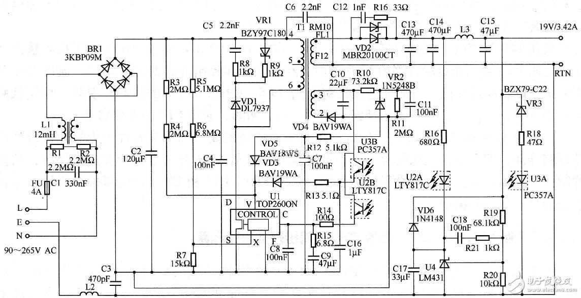 65w双输出开关电源电路