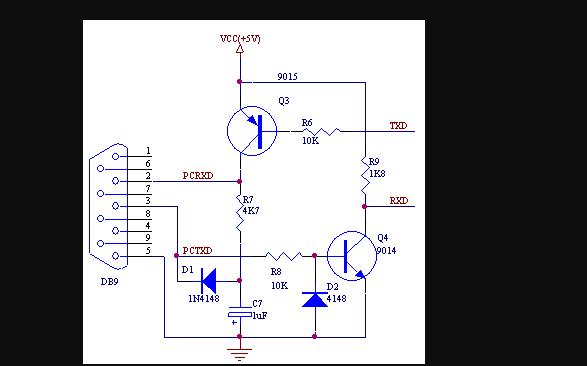 如何使用廉价的三极管代替MAX232芯片电路图说...
