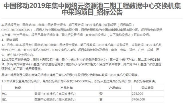 中国移动发布了2019年工程数据中心交换机采购招...