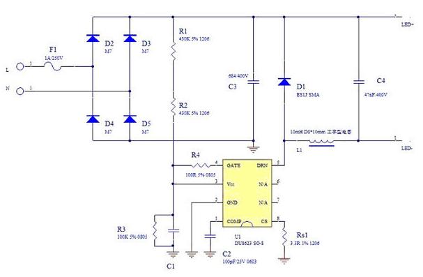 基于一种采用无电解电容来延长LED灯寿命的设计方案