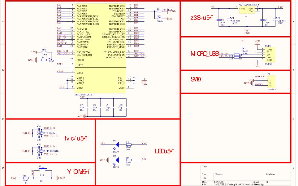 STM32F103C8T6最小系统板的电路原理图与PCB以及相应的3D元件库