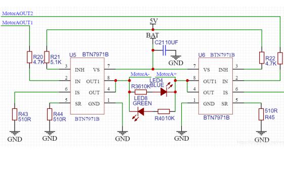 BTN7971B双路电机驱动的设计经验和电路原理图免费下载