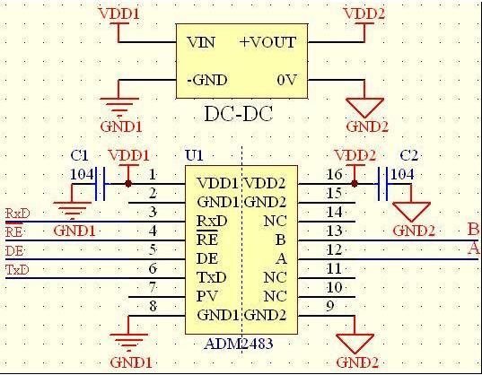 基于RS-485接口的信号隔离自收发电路设计