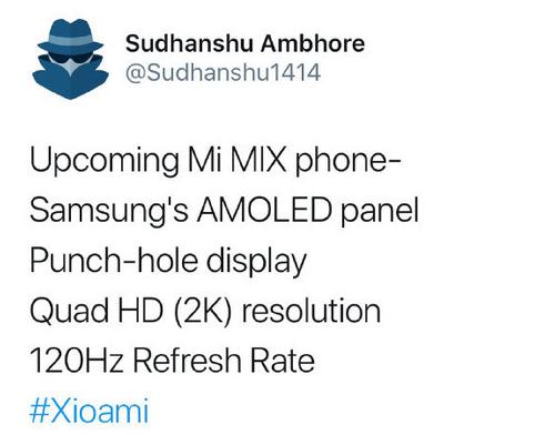 小米MIX 4配置曝光搭载骁龙865平台支持5G...