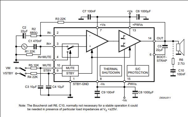 TDA7294音频放大器的数据手册免费下载