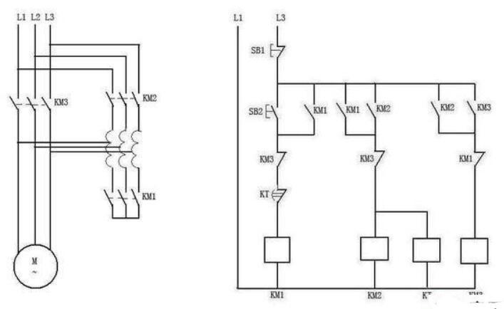 电机配三个交流接触器的两种起动方式
