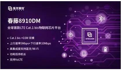 紫光展銳發布了新一代物聯網芯片平臺春藤8910DM