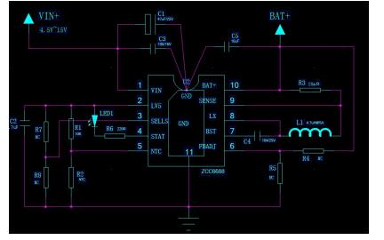 ZCC6688锂离子电池充电器的数据手册免费下载