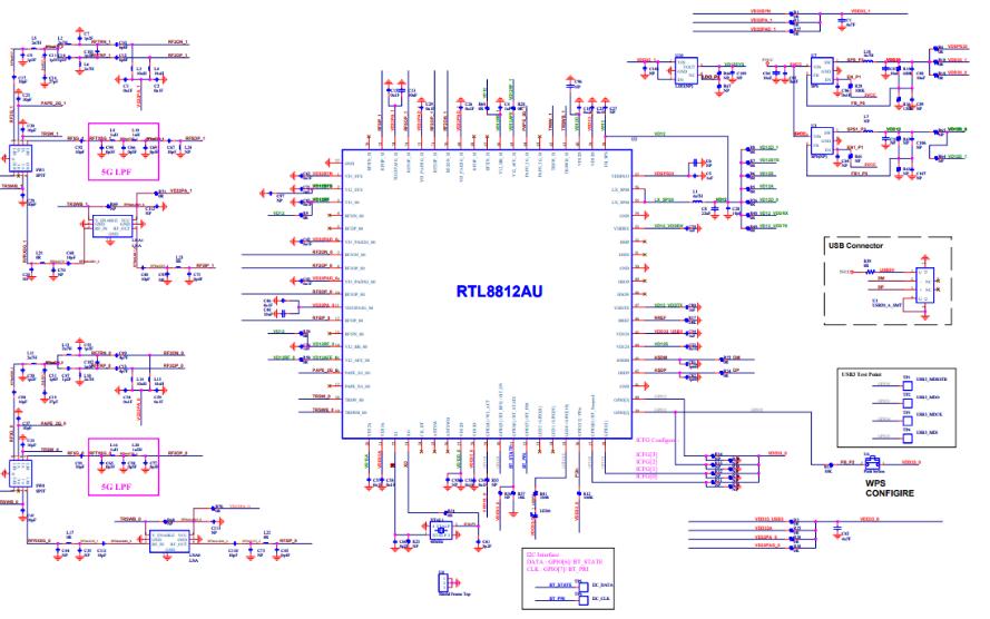 RTL8812AU网络接口控制器的电路原理图免费下载