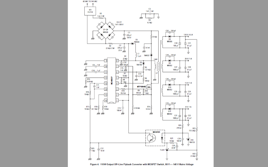 110W输出开关电源应用中的MC44603的设计方法说明