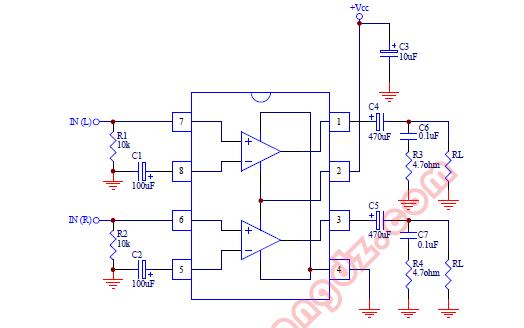 TDA2822双通道单片功率放大集成电路的数据手册免费下载