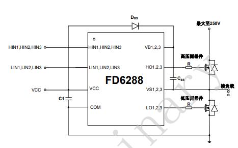 FD6288三相250V栅极驱动器的数据手册免费下载