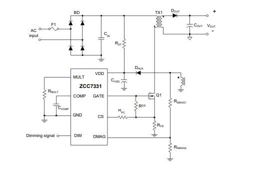 ZCC7331带有源功率因数校正的可调光恒流LED驱动器的数据手册