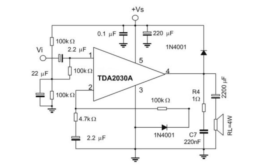 单电源TDA2030音频功放电路的电路图和PCB图及工程文件免费下载