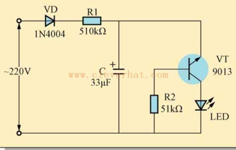 交流电闪烁指示灯的工作原理和接线
